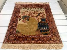 Hand-knotted Persian rug Silk on Cotton 80 x 62 cm Iran 20th century