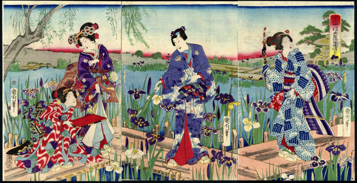 Woodblock print triptych by Toyohara Kunichika (1835–1900) - Japan - around 1875