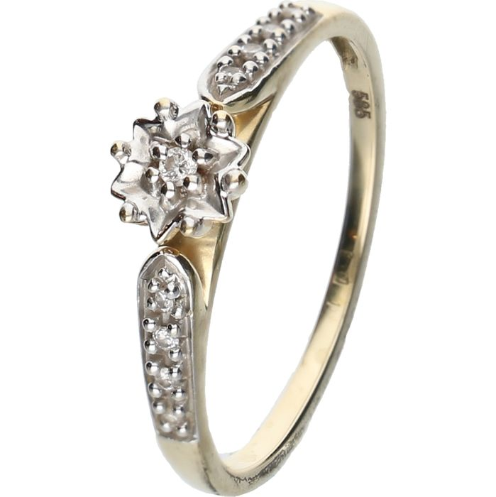 14 kt yellow-gold ring, set with brilliant-cut diamonds of approx. 0.05 ct in total - ring size: 17 mm - NO RESERVE