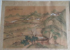 Hand-painted painting on linen - China - late 19th century
