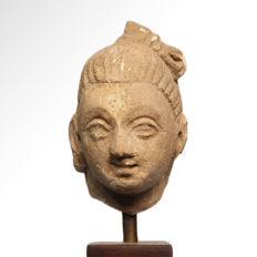Gandhara Stucco Head of a Buddha, 8.1 cm H (without the stand) - Afghanistan/Pakistan - ca. 2nd-3rd Century A.D.