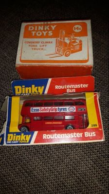 Dinky Toys - Scale 1/38-1/66 - Coventry Climax Fork Lift Ruck and No.14c and Routemaster Bus No.289