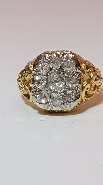 Gold ring (18 kt) with diamonds for 1.15 ct - size 17