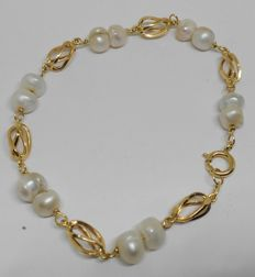yellow gold 18 kt bracelet with baroque pearls - 21 cm