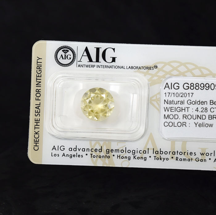 Golden Beryl - 4.28 ct, No Reserve Price