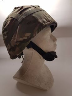 Amazing British Kevlar Helmet MK7, - Special Forces Afghanistan From a Paratrooper Soldier with stock number NATO 8415-99-551-7328