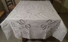 White hand embroidered tablecloth. Belgium