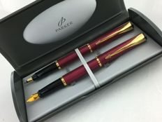 Parker Latitude set wine red GT, fountain pen + rollerball.