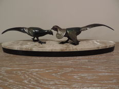 2 Pheasants on Oval Marble Base