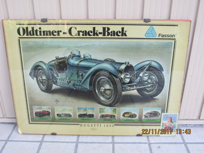 Bugatti 1934 printing Oldtimer-crack-back - Fasson Di Varese Company on original vintage frame, printed in Holland