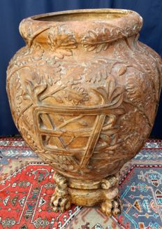 Extremely rare terracotta jar with relief decorations and EV monogram - Florence, Italy - 19th century