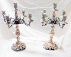 Magnificent pair of candelabra for 5 candles, in hallmarked silver - Spain - late 20th century