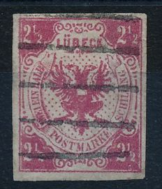 Lübeck - 1859 - 2 1/2 shilling pink, coat of arms of Lübeck, MIchel 4