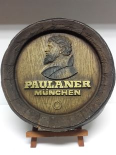 Paulaner München beer, advertising barrel top (Germany c. 1950)