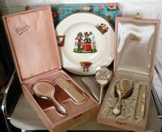 Silver Plate children's brush, comb and vintage dinner plate.
