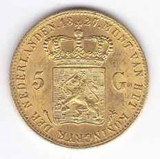 The Netherlands – 5 guilder coin 1827U Willem I – gold