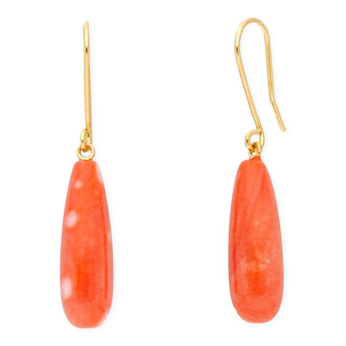 18 kt (750/000) yellow gold - Earrings - Coral of 6.45 mm - Earring height: 35.00 mm.