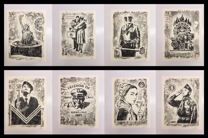 Shepard Fairey (OBEY) - Damaged Exhibition Print Suite + Newspaper