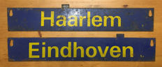 2 Iron place name signs Dutch railways - Haarlem / Den Helder and Eindhoven / Deventer