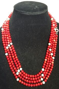 Silver 925 - Necklace XL coral and freshwater cultured pearls - 220 cm
