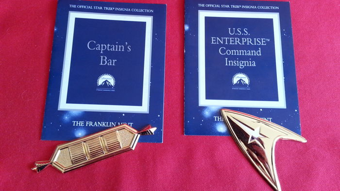 Franklin Mint Star Trek Insignia 2 pcs, with Certificate of Authenticity