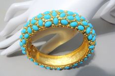 "Signed KENNETH JAY LANE - Gold plated faux turquoise cabochon hinged cuff Bracelet ""Couture Collection"""