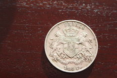 Free State of Congo - 5 Francs 1894 Leopold II - silver