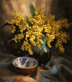 Edgar Locks (20th century) - Still life with flowers