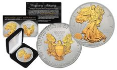 1 oz Silver 2016, American silver Eagle, SPECIAL 24K GOLD GILDED EDITION WITH SILVER .999 MATTE BACKDROP