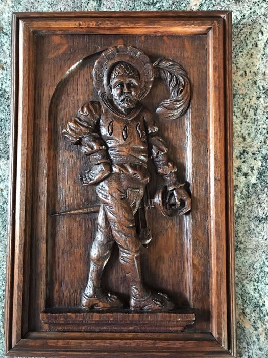 Richly carved oak panel - France - late 19th century