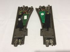 Märklin H0 - 24611/24612/74490/74460 - C-rail switches to the right and left, both with point drive and decoder (2345)