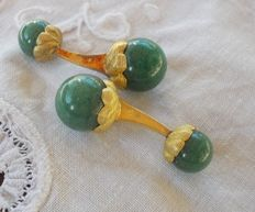 18ct Yellow gold and Amazonite vintage cuff links
