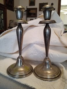 Pair of candlesticks in silver 800/1000 Florence (Italy), 1980s
