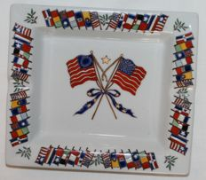 Betsy Ross American flag hand painted ashtray