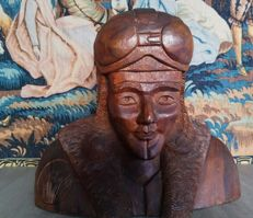 Wooden pilot's bust - France? - late 20th century