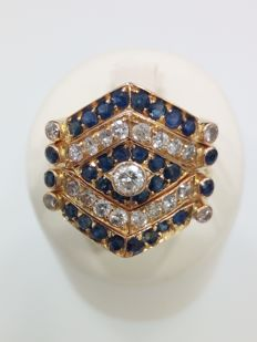 Yellow gold ring (18 kt) - Diamonds totalling approx. 1.20 ct - Sapphires totalling  approx. 1.50 ct - Size 22 mm