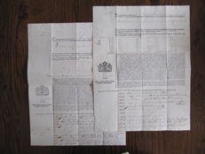 """Shipping; Lot with 2 insurance policies of the merchant ships """"Expeditie"""" and """"Amicitia"""" - 1802"""