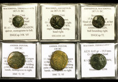 Greek antiquity - Lot of 6 coins from 187 BC to 100 BC. Amisos Pontos, Macedonia Thessalonica, Amphipolis - All Classified (6x)