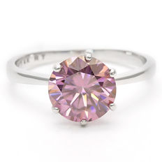 14KT White Gold Ring set with 2.34 cts Created Lavender Rose Moissanite - Size 54