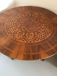 Walnut table with Sorrentine inlaid top Italy, mid 19th century