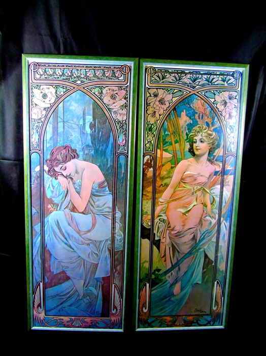 "2 Large lifesize Alphonse Mucha "" The Times of The Day "" framed art prints lithograph reproductions"