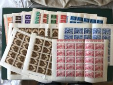 Belgium 1945 - resistor and ravaged ones in full sheets - OBP 697/698 and 701/709