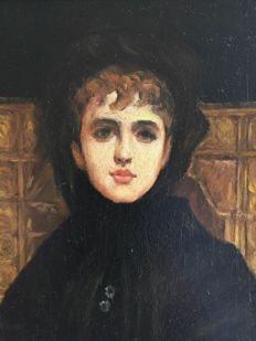 British school -  Mourning young lady in Victorian times