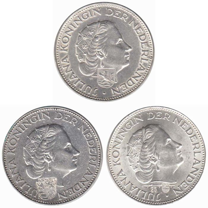 Netherlands - Juliana Rijksdaalders with countermarks - 3 different - silver