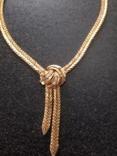 Necklace - yellow gold with 5 diamonds