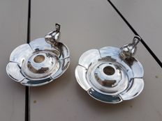"""pair of heavy candlesticks for the table """"the sparrows"""""""