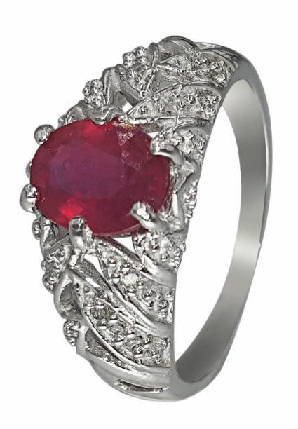 14k White Gold Ring With Ruby And Diamonds 0.6 ct Total --US 7