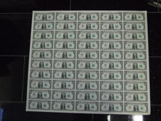 USA - 1 dollar 2013, complete uncut sheet of 50 pieces