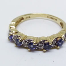 Vintage Tanzanite and Diamond Half Eternity Ring in 9ct/9k Yellow Gold