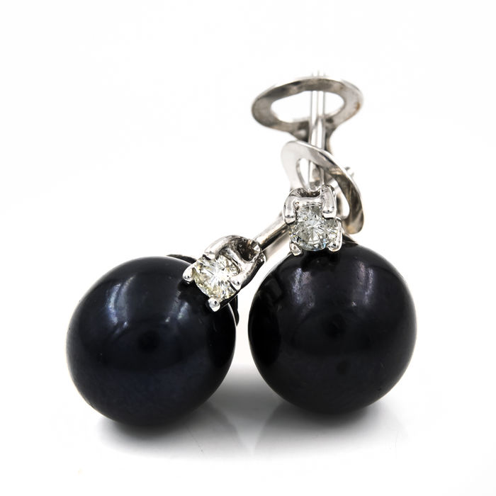 18kt (750/1000) white gold - Earrings - 0.20 ct diamonds - Tahitian pearls, 9.50 mm (approx.)